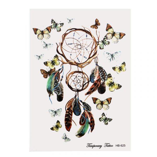 Temporary Tattoo HB-625 Dreamcatcher and Butterflies