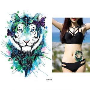 Temporary Tattoo KM-121 Watercolour Tiger