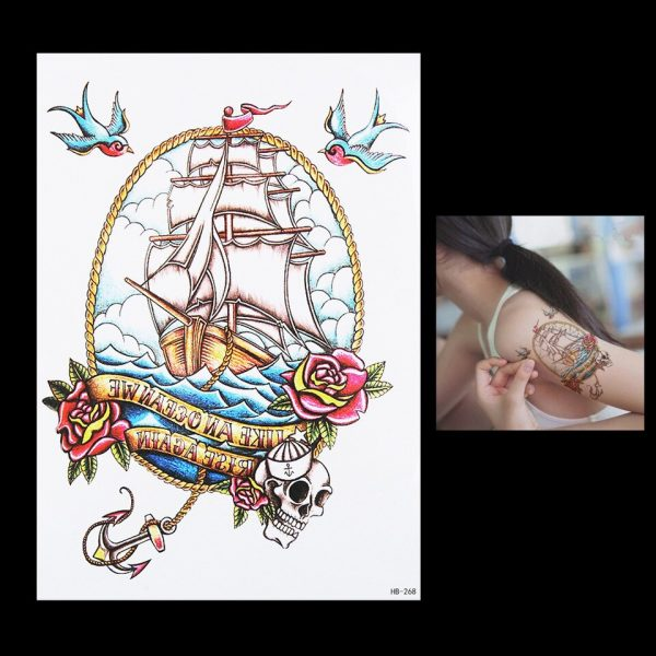 1 Sheet Cute 3D Sailing Sea Harajuku Rose Flower Boat Anchor Skull Bird Tattoo HB268