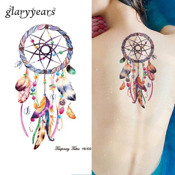 1 Sheet Dreamcatcher Tattoo Feather Decal HB630 Dream Catcher Women Body Art Makeup Tool Temporary