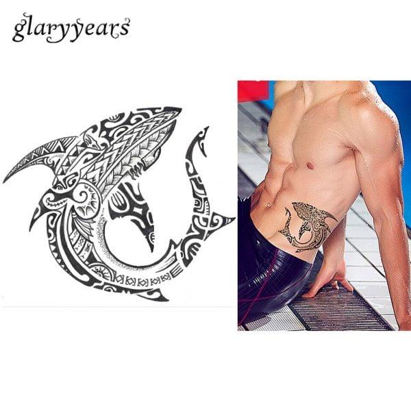 1 Sheet Fake Black Waterproof Tattoo KM 094 Fish Totem Decal Print Design Cool Women