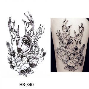 Temporary Tattoo HB-340 Deer and Flowers