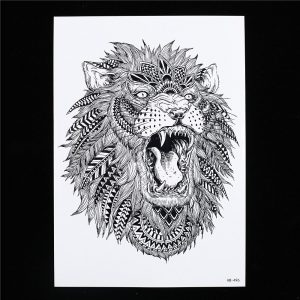 Temporary Tattoo HB-496 Lion with Feathers