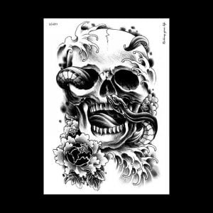 Temporary Tattoo LC-811 Skull and Snake and Flowers