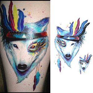 Temporary Tattoo HB-589 Wolf and Feathers