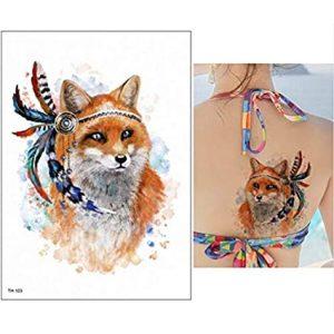 Temporary Tattoo TH-103 Fox with Feathered Headband