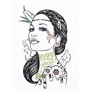 Temporary Tattoo HB-187 Hippie Woman Portrait