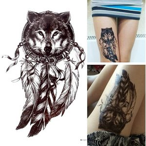 Temporary Tattoo HB-577 Wolf and Dreamcatcher