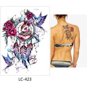 Temporary Tattoo LC-423 Rabbit Dreamcatcher