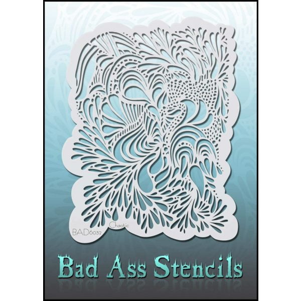 Bad Ass Stencils BAD6032 - Chaotic Teardrops and Swirls