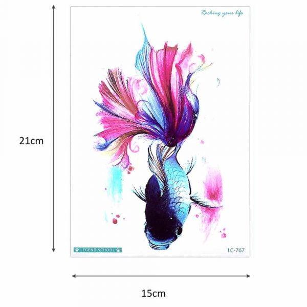 Glaryyears 15 21cm Temporary Tattoo Sticker Colorful Fake Tatoo Fish Flash Tatto Waterproof Small Body Art.jpg q50