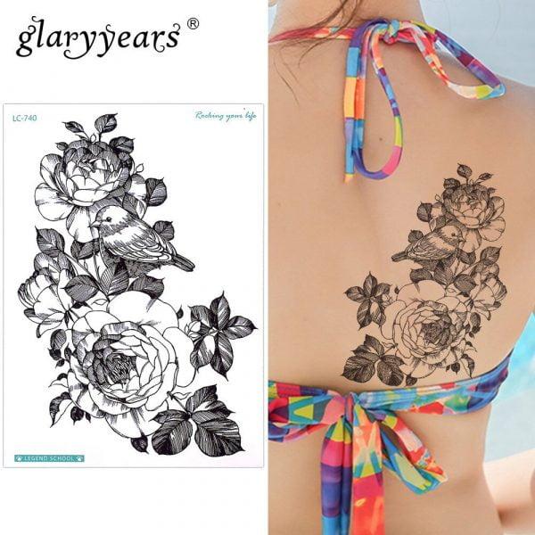 Glaryyears 15 21cm Temporary Tattoo Sticker Fake Tatoo Bird Flash Tatto Waterproof Small Body Art Men