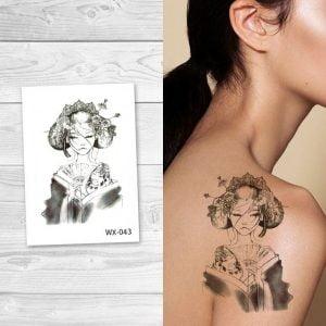 Temporary Tattoo WX-043 Japanese Geisha Woman