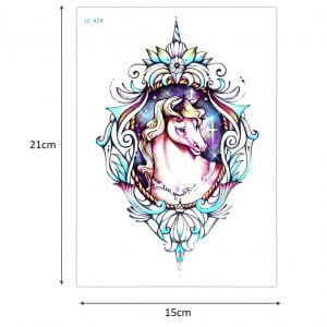 Temporary Tattoo LC-424 Unicorn in a Frame