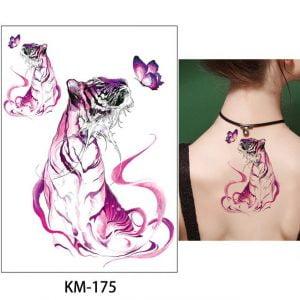 Temporary Tattoo KM-175 Watercolour Tiger