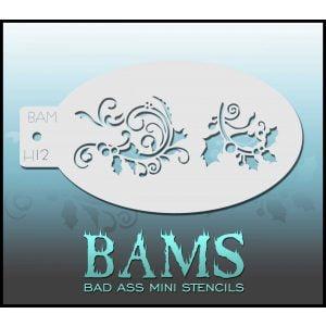 Bad Ass Stencils BAM H12 - Christmas Stencil Holly