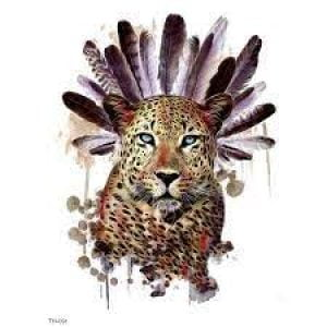Temporary Tattoo TH-091 Cheetah with Feathers