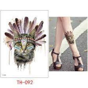 Temporary Tattoo TH-092 Cat with Feathers