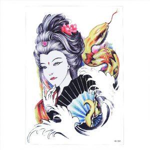 Temporary Tattoo HB-084 Japanese Geisha Snake Fan