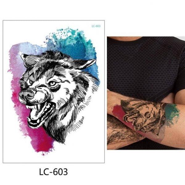 glaryyears 1 Sheet Temporary Tattoo Sticker Fashion Fake Tatoo Wolf Flash Tatto Waterproof Small Body