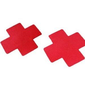 1 Pair of X Cross Breast Nipple Cover Pasties (Red)