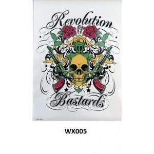 Temporary Tattoo WX-005 Skull Gun Rose Revolution Bastards