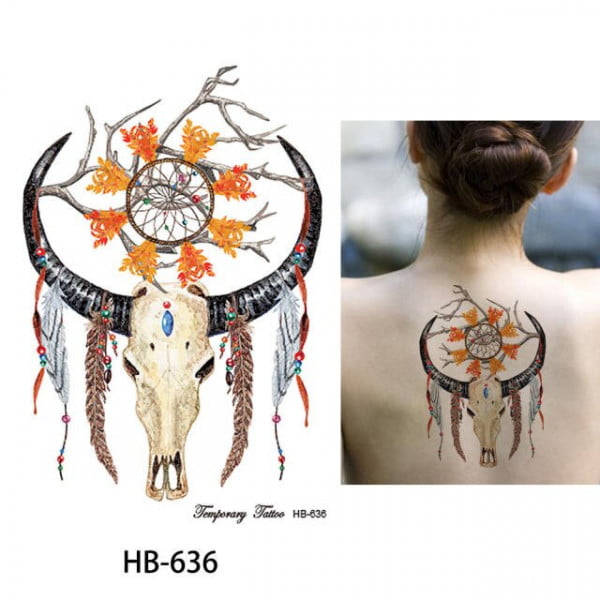 Temporary Tattoo HB-636 Antlers Feathers Dreamcatcher