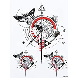 Temporary Tattoo HB-900 Trash Polka Moths Compas