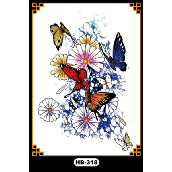 Temporary Tattoo HB-318 Butterflies and Flowers