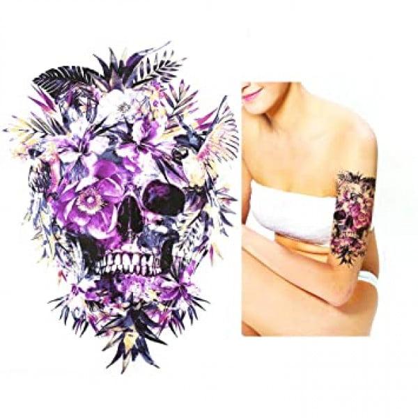 Temporary Tattoo HB-362 Skull Jungle Flowers Birds