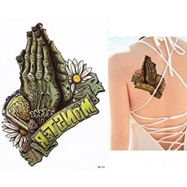 Temporary Tattoo HB-541 Monster Zombie Hands Brain Flowers