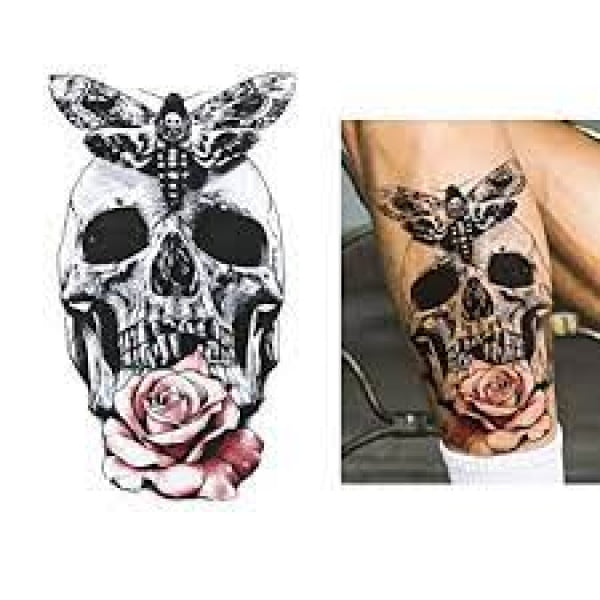 Temporary Tattoo HB-123 Skull Rose and Butterfly