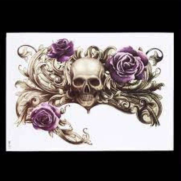 Temporary Tattoo KM-069 Skull Rose and Fleur de Lis