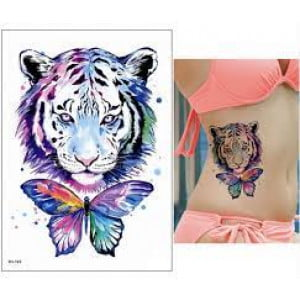 Temporary Tattoo TH-193 Rainbow Tiger and Butterfly