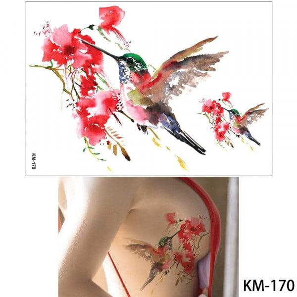 Temporary Tattoo KM-170 Watercolour Hummingbird and Flowers
