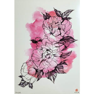 Temporary Tattoo TH-243 Pink Watercolour Flowers