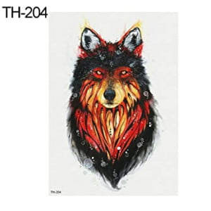 Temporary Tattoo TH-204 Wolf Flames