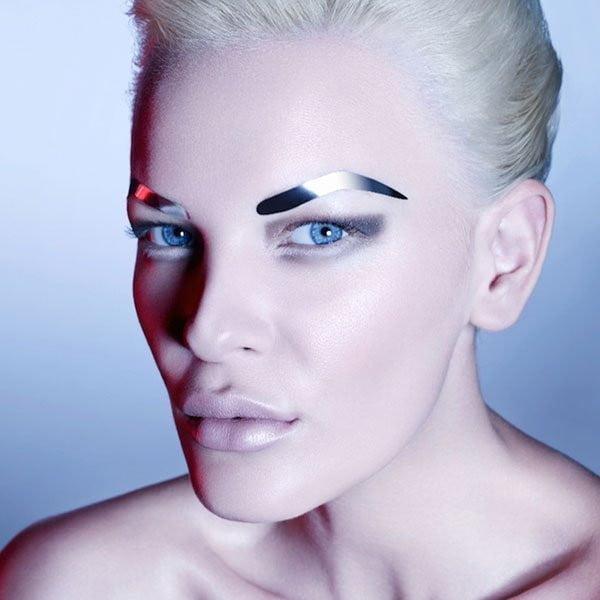 Face Lace - Gun Metal Silver Eyebrows