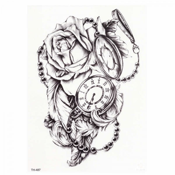 Temporary Tattoo TH-487 Rose Feathers Stopwatch