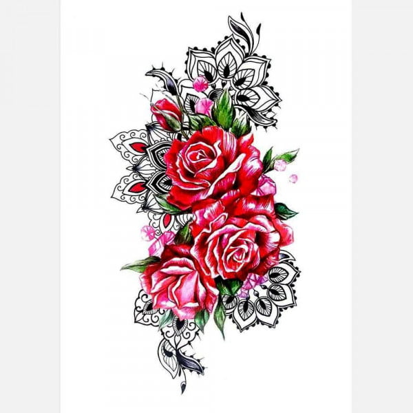 Temporary Tattoo TH-251 Red Roses and Henna designs