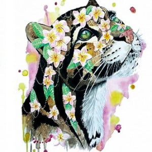 Temporary Tattoo TH-197 Oscelot Cat with Flowers