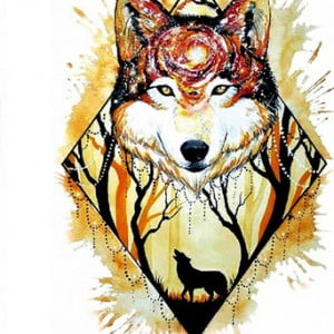 Temporary Tattoo TH-206 Wolf in a Forest With Trippy Galaxy