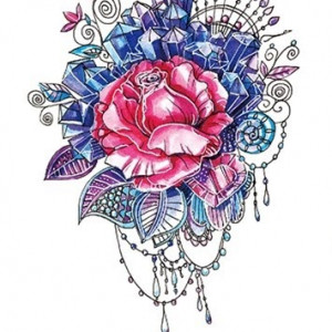 Temporary Tattoo TH-253 Pink and Blue Rose and Gems