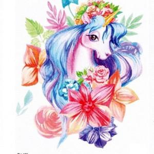 Temporary Tattoo TH-123 Unicorn Watercolour Illustration