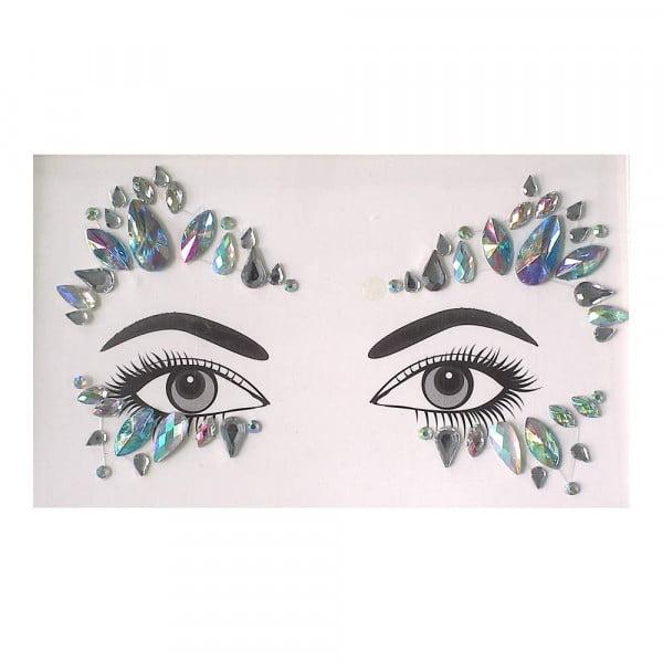 Face gems - LS1022 Iridescent Blue and Silver Gems