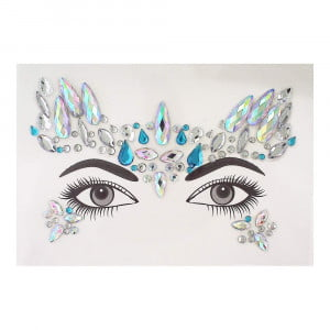 Face gems - LS1023 Iridescent Blue and Silver Gem Crown