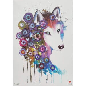 Temporary Tattoo TH-309 Watercolour Wolf with Flowers
