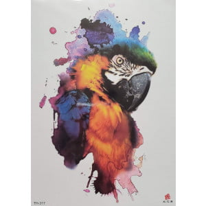 Temporary Tattoo TH-317 Watercolour Parrot