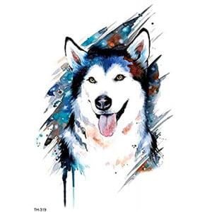 Temporary Tattoo TH-319 Husky Dog Watercolour