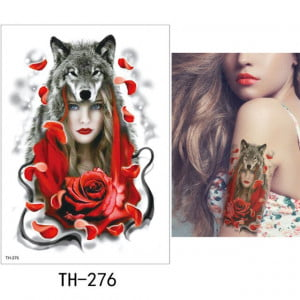 Temporary Tattoo TH-276 Woman and Wolf and Red Rose